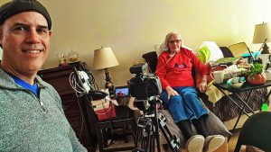 Personal historian Cory Bretz interviewing Margaret for her Celebration of Life Tribute Film