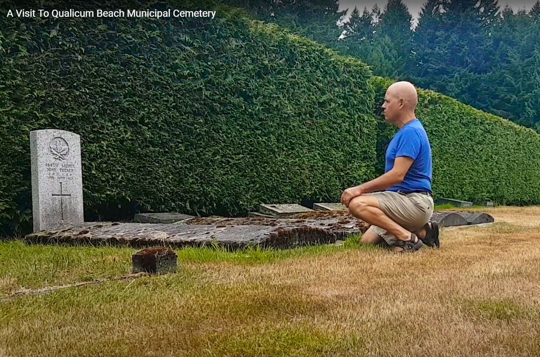 Cory Bretz visiting ancestors at Qualicum Beach Cemetery